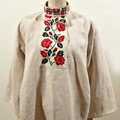 FG182 1910年代ウクライナ製ホームスパンリネン薔薇刺繍ロングシャツ