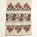 L0048 1950年代ウクライナ製葡萄&木の実刺繍ホームスパンリネン