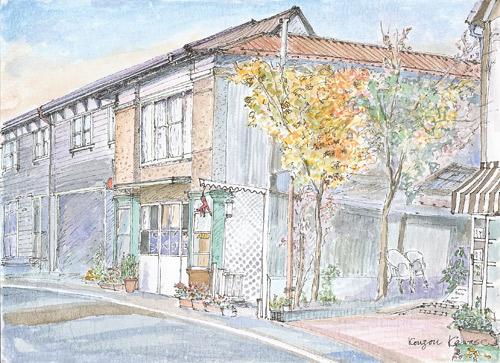 旧軽井沢の脇道-軽井沢彫工房のある風景- 2008.11 川瀬 興三
