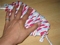 3色ネクタイ編み!(布ぞうりの編み方) 30