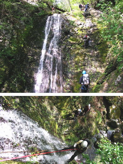 大滝を登る