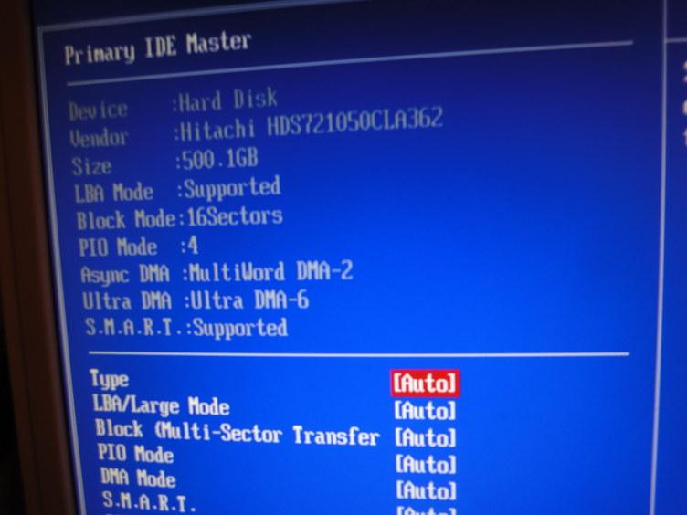 HDDをバイオスでみてみるが大丈夫そう