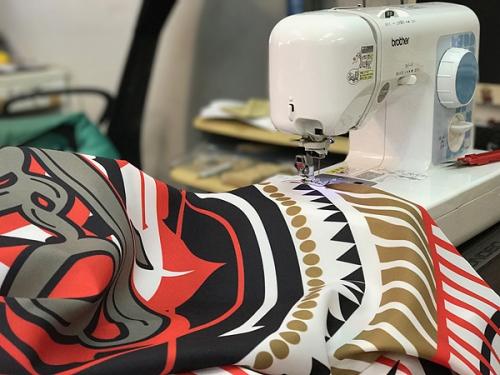 応援旗の縫製
