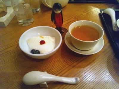 羽田空港第2ターミナル 南国酒家 杏仁豆腐と茉莉花茶