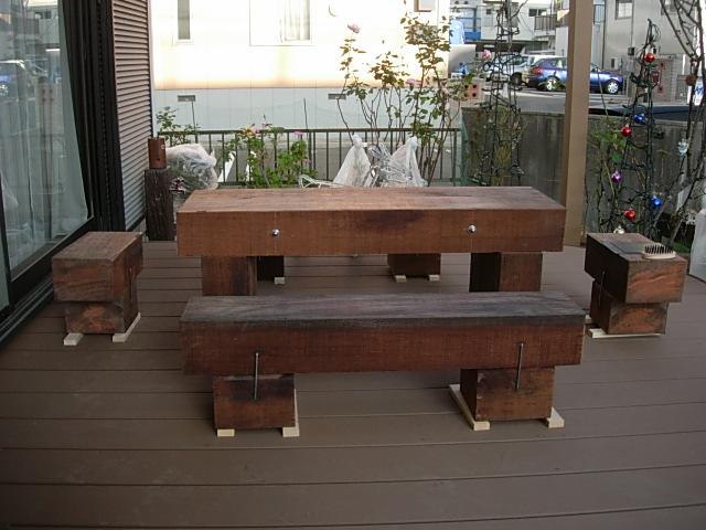 まくら木テーブルを作りました1