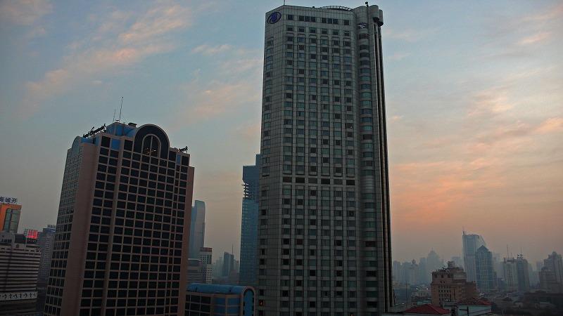 上海の朝焼け
