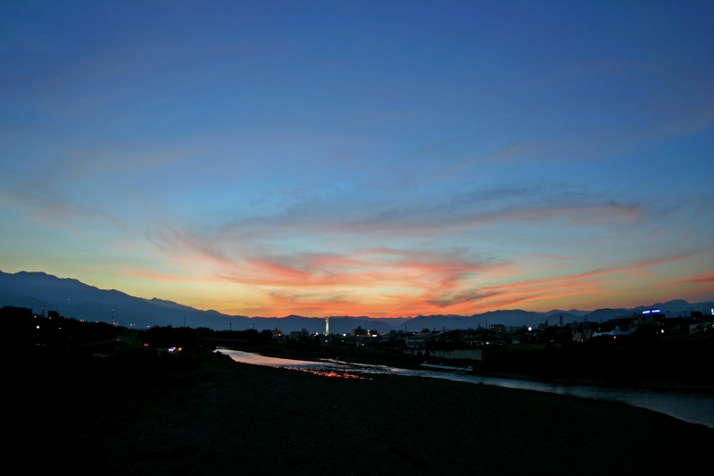福島市内から見た夕焼け