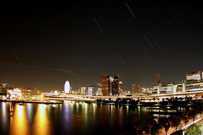 お台場の夜景と星空