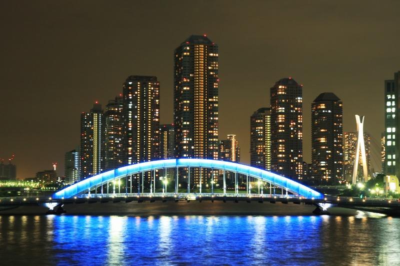 永代橋とリバーシティの夜景1