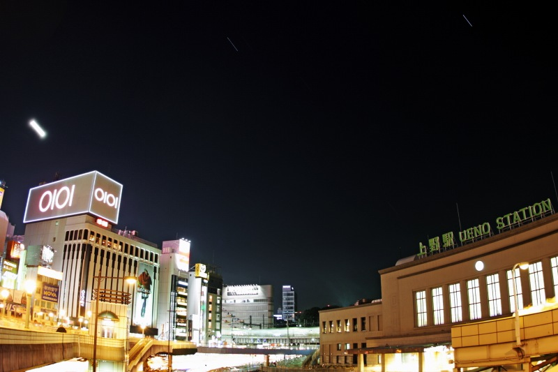 上野駅と星空