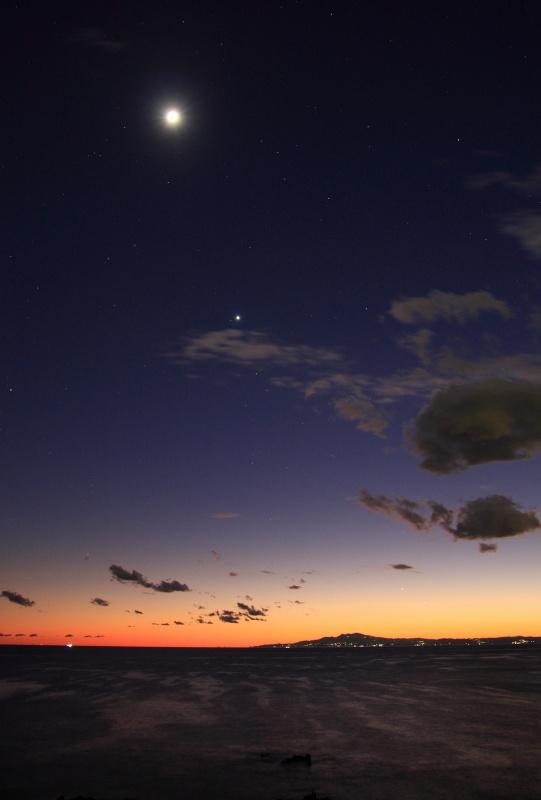 荒崎公園から見た月・金星・木星・水星