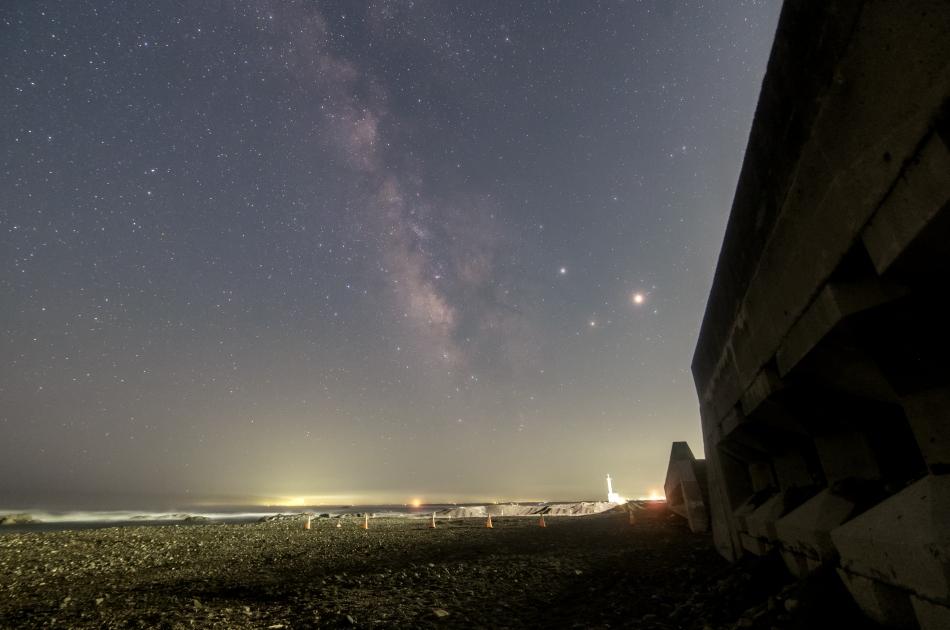 大洗海岸と銀河中心部