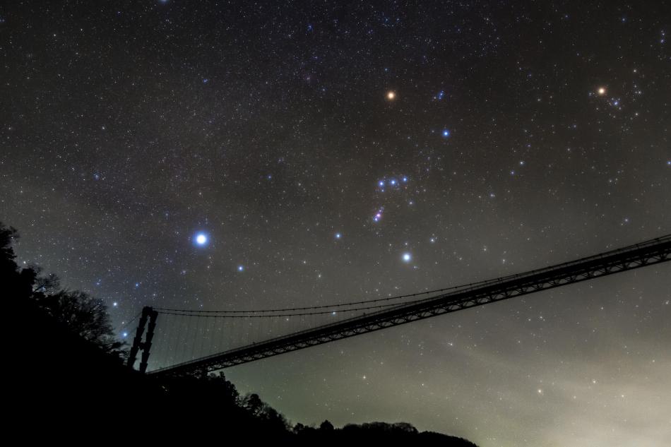 竜神大吊橋とオリオン座
