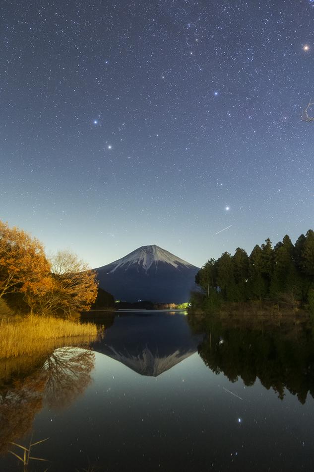 田貫湖から見た富士山とふたご座
