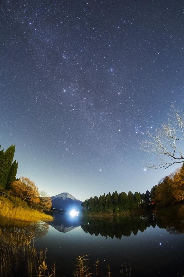 田貫湖から見た富士山と冬の星座