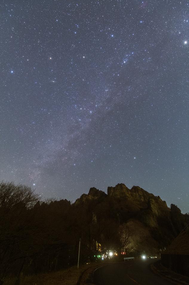 妙義山と北天の星