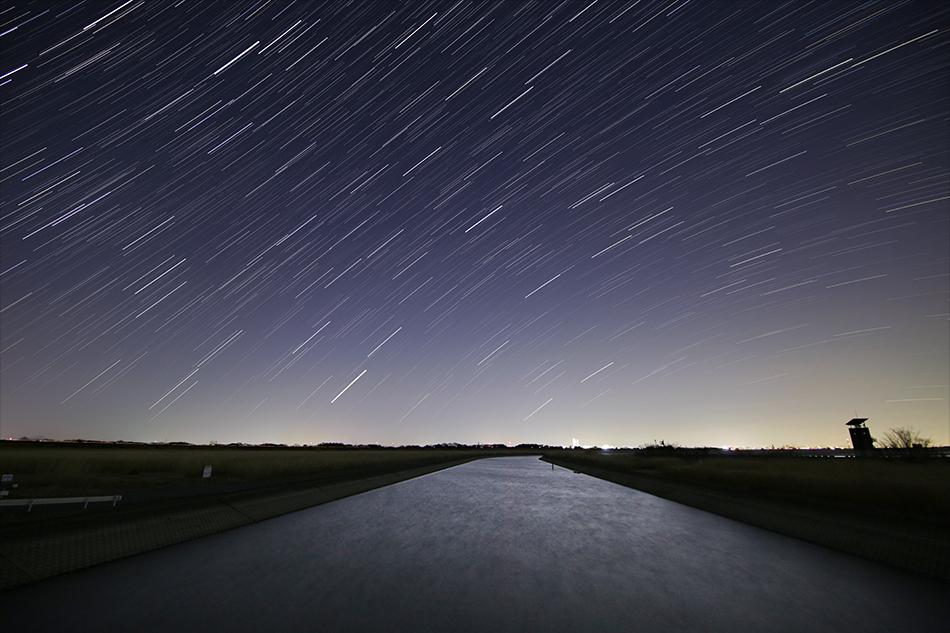 渡良瀬遊水地昇る春の星々