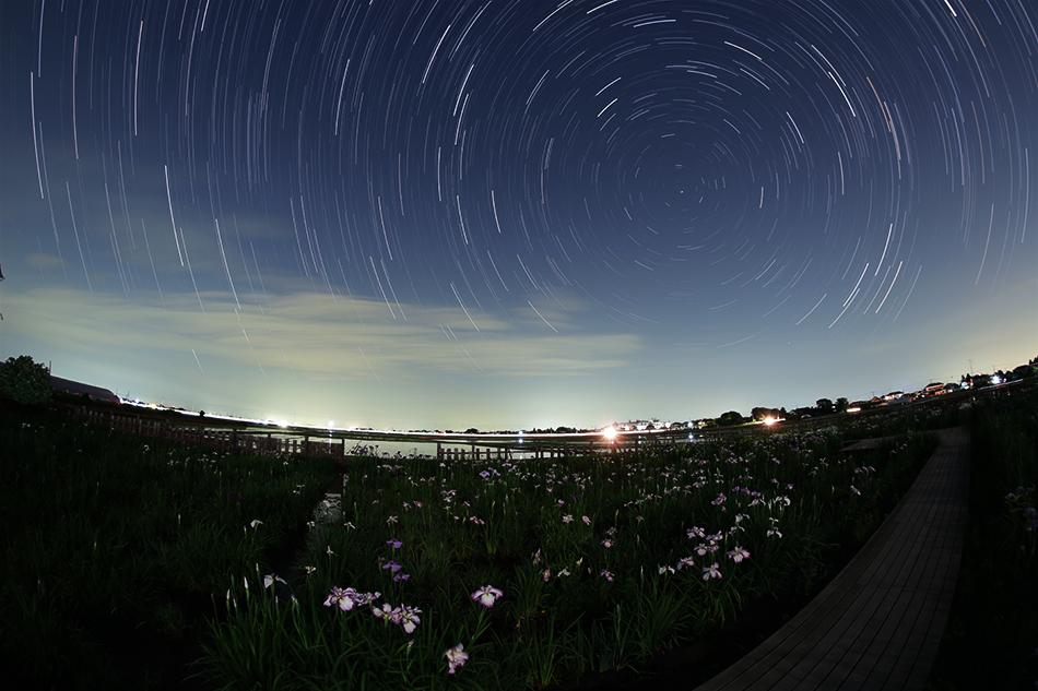 菖蒲城址あやめ園と星