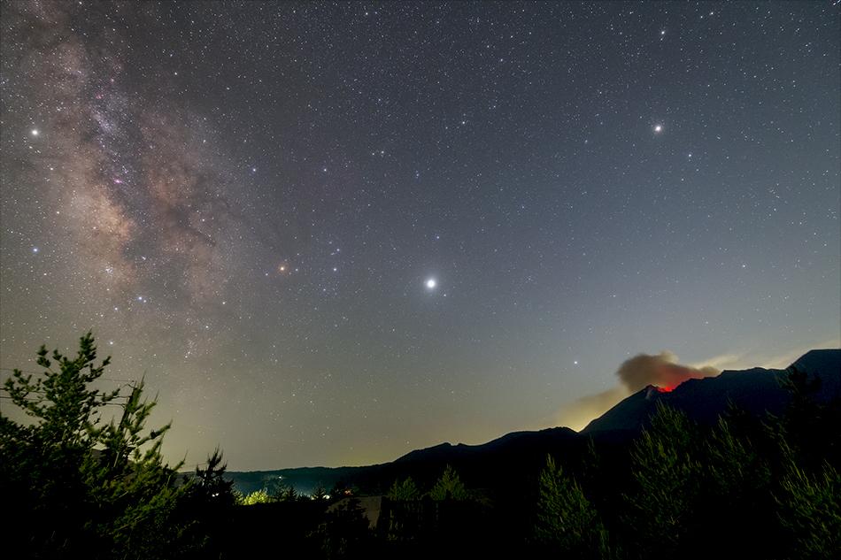 昭和溶岩地帯展望台からの桜島と天の川