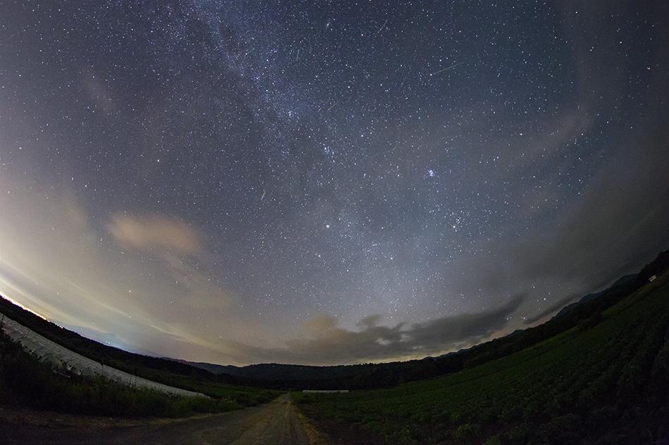 魚眼レンズで写したペルセウス座流星群