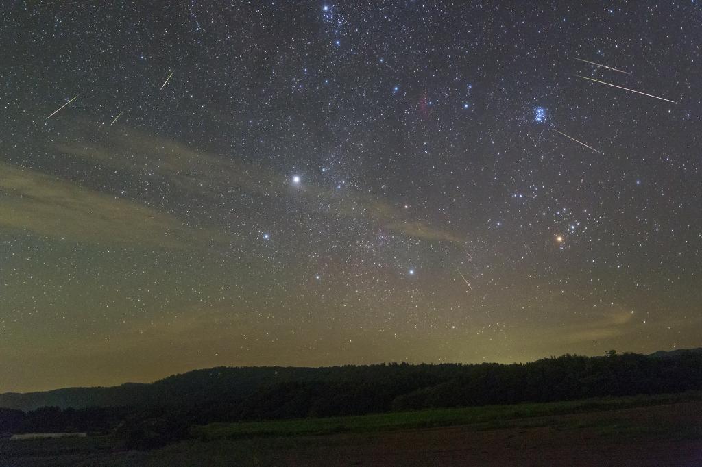 昇る冬の星座とペルセウス座流星群