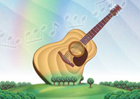 幸響楽(交響楽) アコースティックギター/作:田中こいち/祝電専門 お祝電報・結婚式電報「文亭:ふみてい」