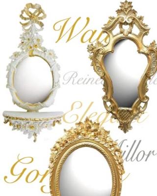 鏡 ミラー 壁掛鏡 ウォールミラー ゴールド ホワイト