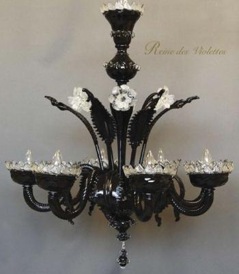 シャンデリア ブラック ガラス 花 ベネチアングラス