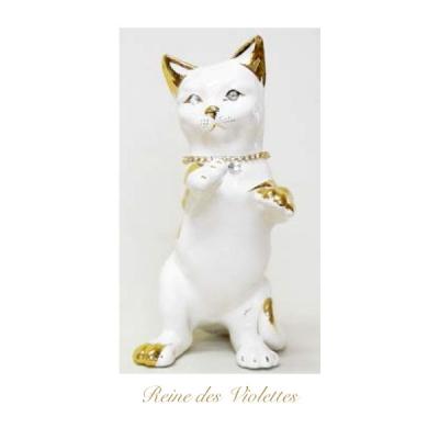 猫 キャット ねこ オブジェ 子ねこ ホワイト ゴールド