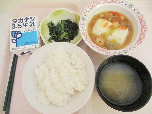 2019年8月14日(水)【朝食】豆腐の野菜あんかけ 磯和え 味噌汁 牛乳