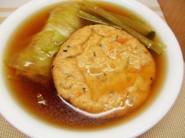 がんもとロールキャベツとかぶの葉の比内地鶏スープ