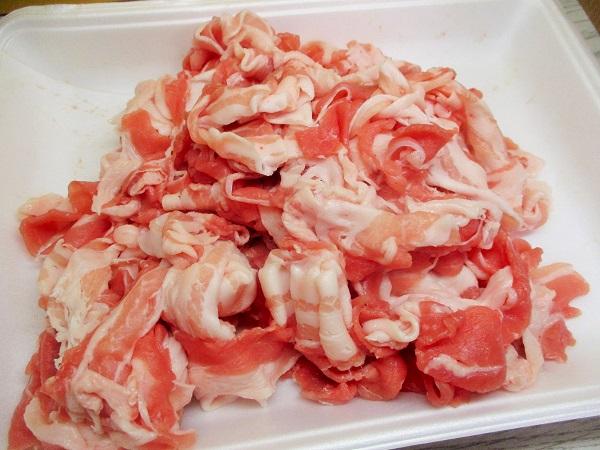 アメリカ産 豚バラしゃぶしゃぶ用 554g/466円(税込) ビッグヨーサンで購入。