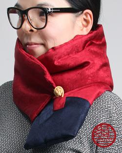 マフラー Silk red+navy寄り