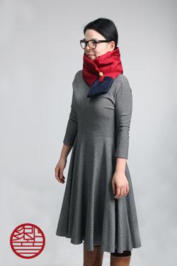 マフラー Silk red+navy引き