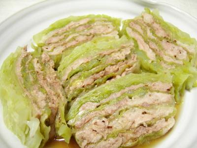 キャベツと豚肉の重ね蒸し