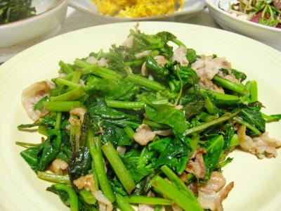 つぼみ菜の炒め物