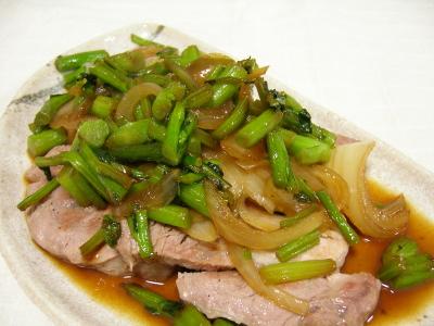 豚ロースつぼみ菜炒め