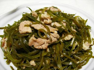 昆布と豚肉の炒め物