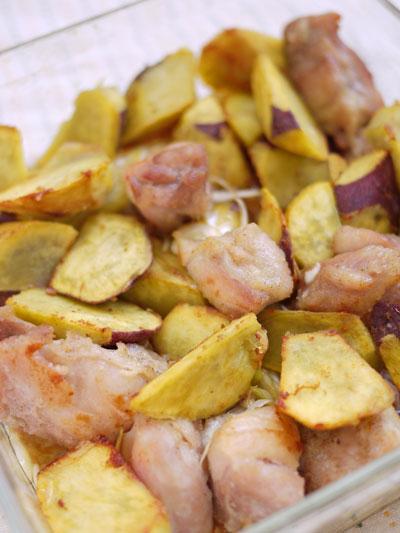サツマイモと鶏肉揚げ