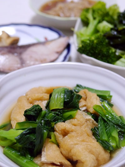 小松菜と油揚げの浅煮