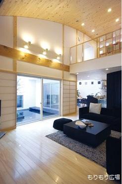 木曾ひのきの家もりぞう中庭のある家リビング新築当初.JPG