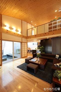 木曾ひのきの家もりぞう中庭のある家リビング築10年経過.JPG
