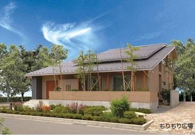 木曾ひのきの家もりぞう外観デザインもりもり広場大屋根の家.JPG