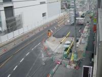 道路工事始まる