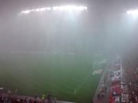 暴風雨の鹿島スタジアム