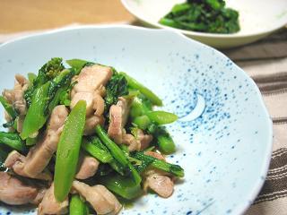 菜の花と鶏肉の炒め物