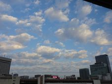 朝方の仙台駅上空の空