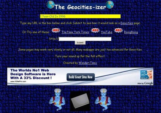 ダサい!一昔前のHPみたいなサイトにしてくれるサービス The Geocities-izer