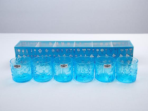 NUUTAJARVI/ヌータヤルヴィ Flora/フローラ ショットグラス ライトブルー 6個セット(箱付き) 001