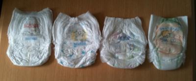紙オムツ(Lサイズパンツ)左から ウルトラプラス、グーン、メリーズ、パンパース